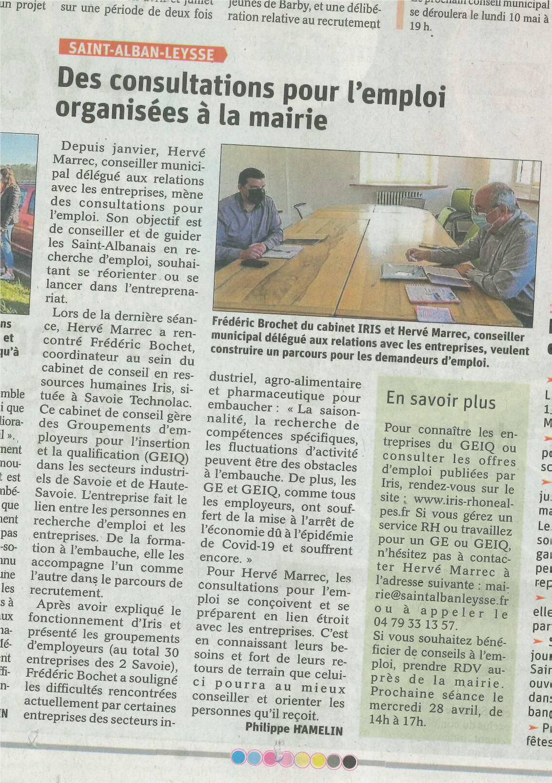 RENCONTRE AVEC LA MAIRIE DE SAINT-ALBAN-LEYSSE