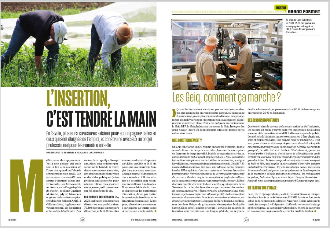 📌Idée lecture : Article du magazine LA VIE NOUVELLE sorti fin mai 2021 sur l'insertion professionnelle !