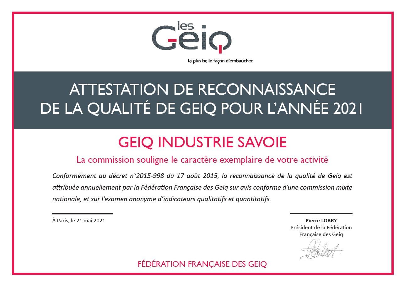 Validation Labellisation GEIQ 2021