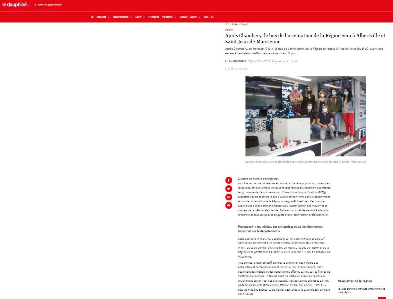 Article du Dauphiné sur notre action le Bus de l'orientation/Camion de l'UIMM